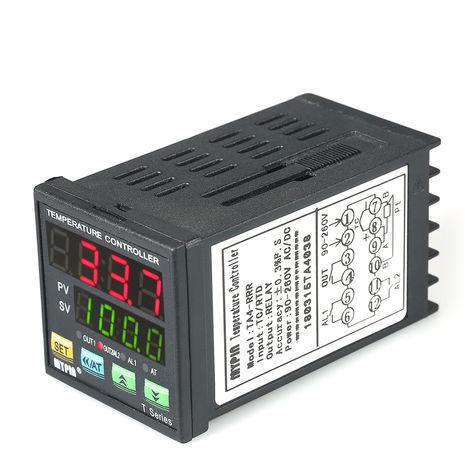 Controlador automatico de temperatura LED PID, termometro RRR 2 Salida de rele de alarma Entrada TC / RTD