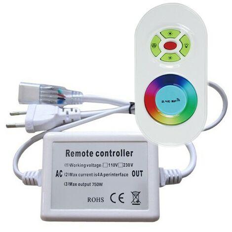 Controlador con su mando a distancia de radio para la cinta de leds RGB 220V