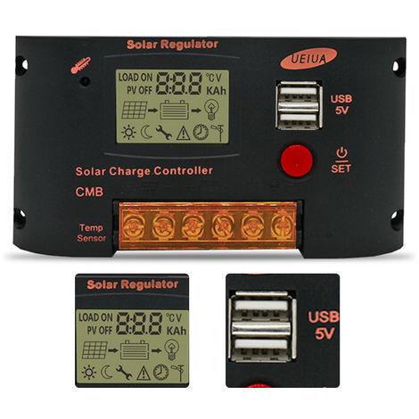 Controlador de carga solar 20A, para sistema de panel solar de 12V / 24V