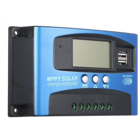 Controlador de carga solar MPPT, 30A, pantalla LCD USB dual