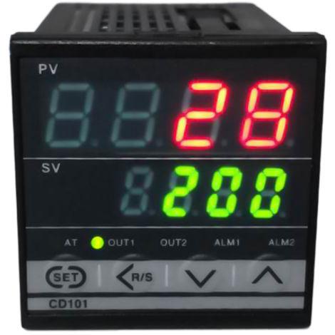 Controlador de temperatura de pantalla dual PID digital, con salida de rele de alarma