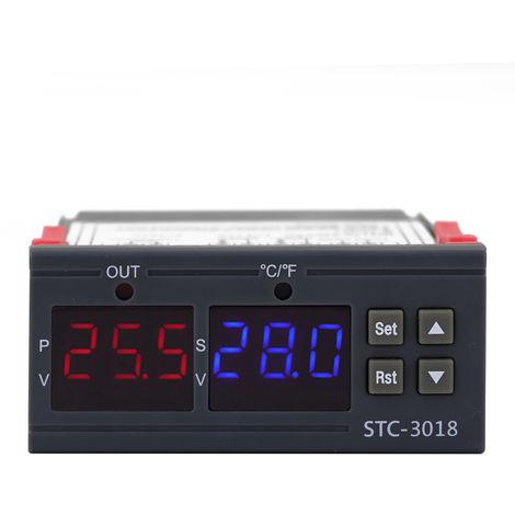 Controlador digital de temperatura, rele de termostato ¡æ / ¨H 10A, con pantalla LED dual
