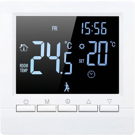 Controlador digital de temperatura, termostato, termostato de calefaccion, 16A,Blanco sobre negro