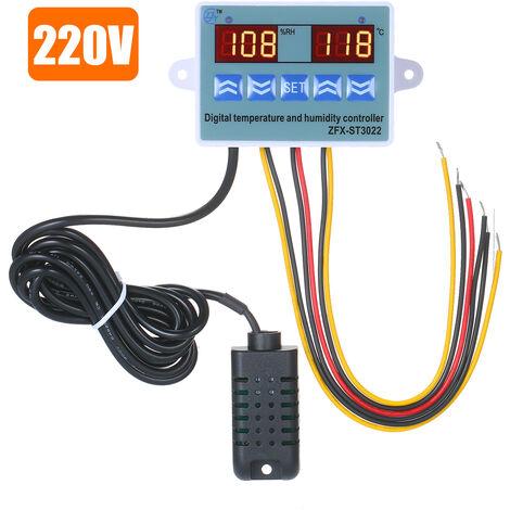 Controlador digital de temperatura y humedad, con 2 pantallas LED, 220V 10A