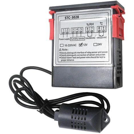 Controlador digital de temperatura y humedad Regulador Termostato Higrometro, 12V