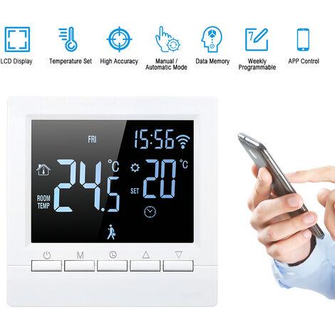 Controlador inteligente de temperatura del termostato,16A,Negativo, blanco sobre negro