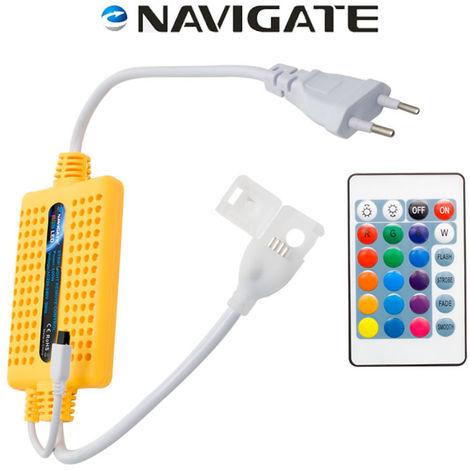 Controlador para Tiras LED RGB 220V 14W con mando Blanco | IluminaShop