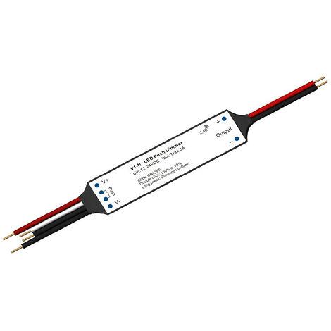 Controlador Regulador Mini Tira LED Monocolor 12/24V DC compatible con Mando RF y Pulsador Blanco - Blanco