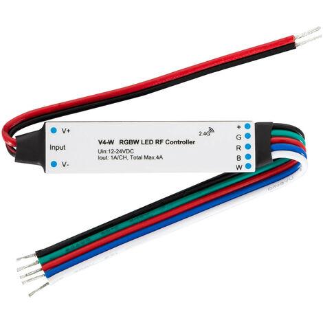 Controlador Regulador Mini Tira LED RGBW 12/24V DC compatible con Mando RF Blanco - Blanco