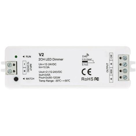 Controlador Regulador Tira LED CCT 12/24V DC 2 Canales compatible con Mando RF Blanco - Blanco