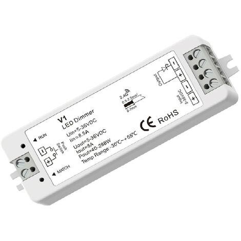 Controlador Regulador Tira LED Monocolor 5/12/24/36V DC compatible con Mando RF y Pulsador Blanco - Blanco