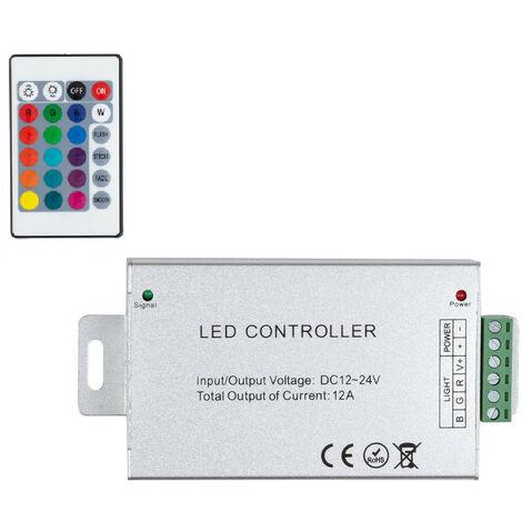 Controlador Regulador Tira LED RGB 12/24V DC con Mando IR High Power