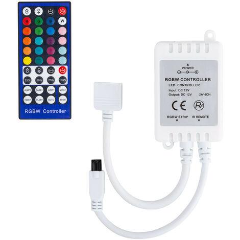 Controlador Regulador Tira LED RGBW 12/24V DC con Mando IR