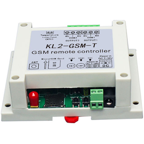 Controlador remoto GSM, con 2 salidas de rele, un sensor de temperatura NTC