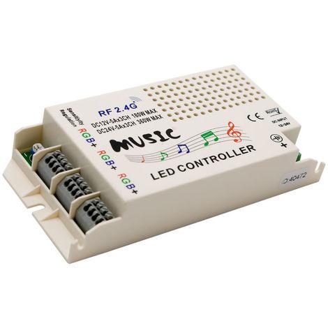 Controlador rgb 2.4ghz con mando (musica) 12/24vdc