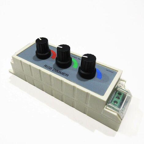Controlador RGB manual para cambio de color 12/24V con un potenciómetro por canal