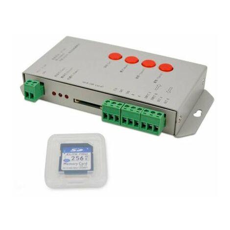 Controlador T-1000S para Tira LED Digital (Programa + Tarjeta SD 256MB) 5/12/24V Gris | IluminaShop