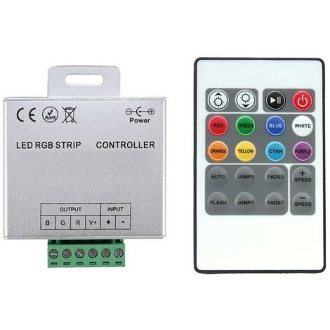 Controlador Tira LED RGB 12/24V, Dimmer por Control Remoto RF 20 Botones