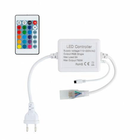 Controlador Tira LED RGB 220V, Control Remoto IR 24 Botones