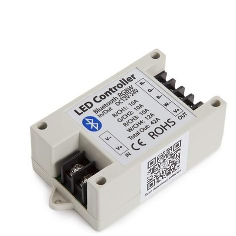 Controlador Tira LED RGBw Bluetooth Smartphone 12-24VDC 500-1000W (WU-BL-RGBW)