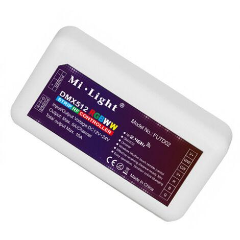 Controlador Tiras Led DMX512 RGBWW 12V/24V 10Amax 2,4Ghz FUT039