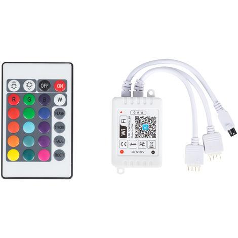 Controlador WIFI Doble Tira LED RGB Comptable Alex/Google Home con Mando [TB-WFXB-IR24] (TB-WFXB-IR24)