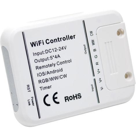 Controlador wifi tira led 12v/24v smd 5050 rgb+blanco+calido (rgb+ww+w)