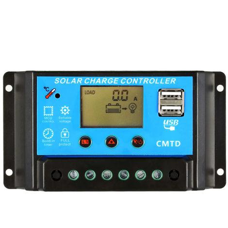 Controleur de charge solaire 10A 12V / 24V LCD