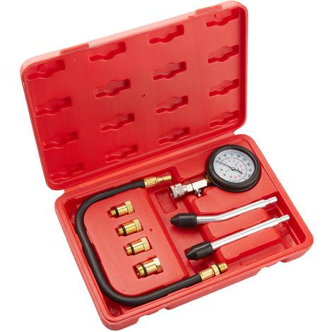 Compressiomètre à Manomètre pour Moteur essence Coffret 9 Pièces