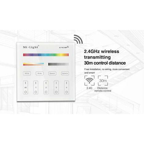 Contrôleur LED RGB+CCT tactile sans fil 4 zones B4