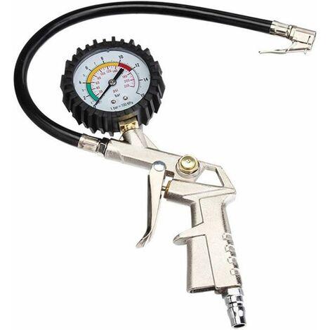 Controleur Pression Pneus Manometre Pression Pneu Jauge de Pression des Pneus Pistolet Gonflage de Pneu Manomètre Testeur de Pression d'air Multifonction 0~16bar pour Auto/Moto/Vélo