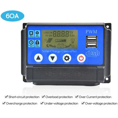 Controleur solaire, controleur de charge de panneau photovoltaique, 60A 12V / 24V