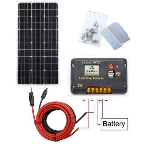 Contrôleur solaire mono de 100 W avec contrôleur solaire 20A et chargeur de batterie 12 V hors grille