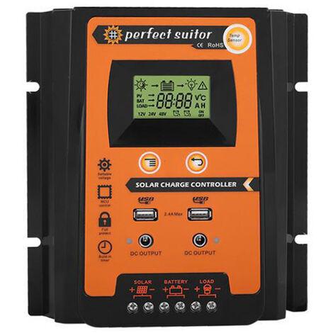 Controleur solaire PWM Controleur de charge et decharge de batterie solaire 12V/24V, 50A