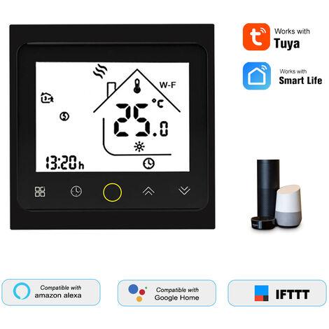 Controller Tuya Temperatura THP1002-WHPW de calefaccion Termostato inteligente WiFi Digital / Smartlife Control de APP, 3A AC95-240V, Negro