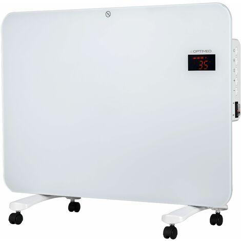 Convecteur mobile blanc 1500W, 3 niveaux de chauffage, minuterie 24h et mode Eco, r'sistant … l'eau norme IPX4, avec t'l'commande OPTIMEO OCE-E01-1500B