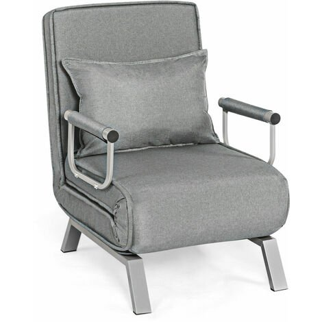 Convertible Sofa Bed Folding Armchair Sleeper 5 Position Recliner Padded Lounger
