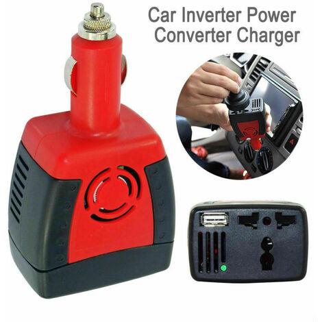 Convertisseur 300W 12V à 220V avec Adaptateur Allume-Cigare, Prise EU et Ports USB Onduleur transformateur Pur Sinus pour Chargeur Voiture Bateau Camper-Rouge