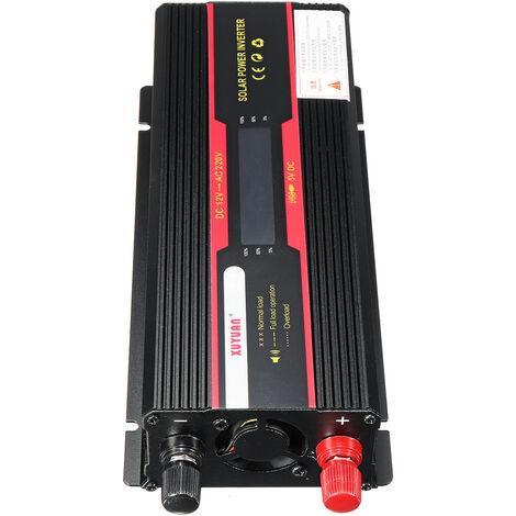 Convertisseur à onde sinusoïdale d'inverseur de puissance LCD 6000W DC 12V à AC 220V (noir, prise universelle 12V-110V)