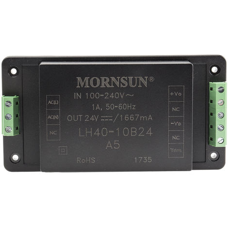 Convertisseur c.a./c.c. 40W monosortie, tension : 24V cc, courant : 1.667A
