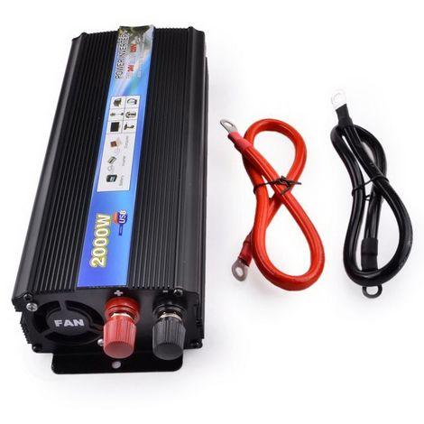 Convertisseur Transformateur 2000W DC 24V AC 220V Onduleur Puissance USB Camion