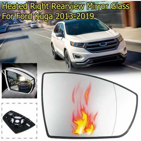 Convex Heated Blind Spot Warning Wing Rear Mirror Glass For Ford KUGA 2013-2019 (Right)