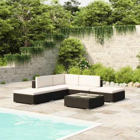 Conway 5 Seater Rattan Corner Sofa Set by Dakota Fields - Black