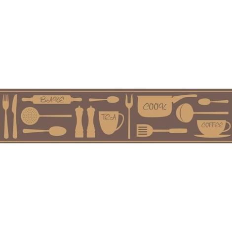 Cook Kitchen Bathroom Self Adhesive Wallpaper Border Chocolate Gold