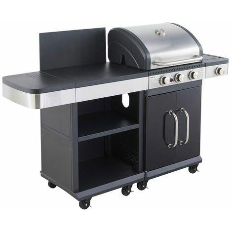 Cook'in Garden - Barbecue au gaz FIDGI 3 avec desserte - Noir