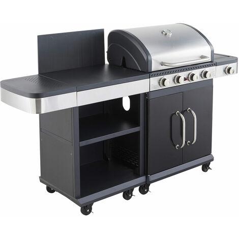 Cook'in Garden - Barbecue au gaz FIDGI 4 avec desserte - Noir
