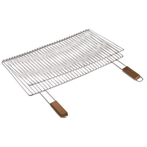 COOK'IN GARDEN - Grille barbecue double 2 poignées - 60 x 40 cm