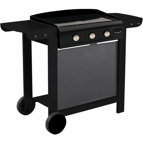 Cook'in Garden - Plancha au gaz en fonte émaillée sur chariot FINESTA 3 - 3 brûleurs 7,5kW - Noir