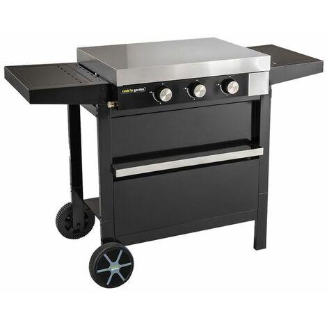 Cook'in Garden - Plancha gaz en fonte FINESTA sur chariot - 3 brûleurs - Noir