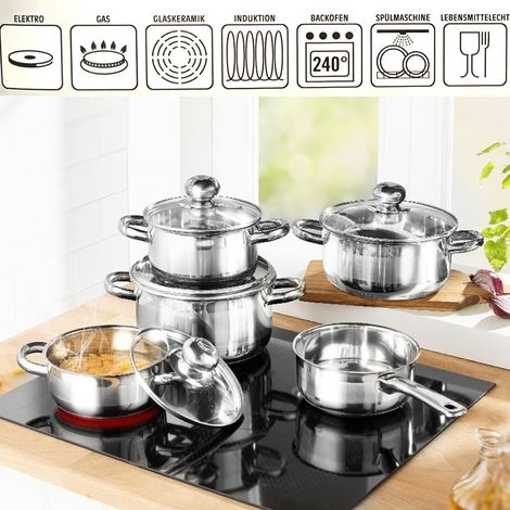 Cooking pot set 9 pcs. stainless steel GSW induction cookware pot set cooking pots ceran gas lid glass lid casserole induction pots pot meat pot